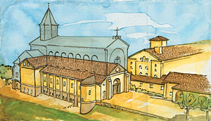 Above is an artist rendering of what the monks at Clear Creek envision their church will one day be. This image is from their official website - please click here to see the image there, and for more information on their project, as well as how you can donate to them.