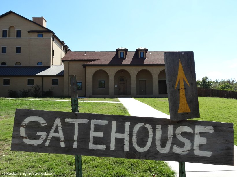 Straight ahead is both the monastery gift shop and the gatehouse. If you have a question, and cannot find someone, just ring the bell there.
